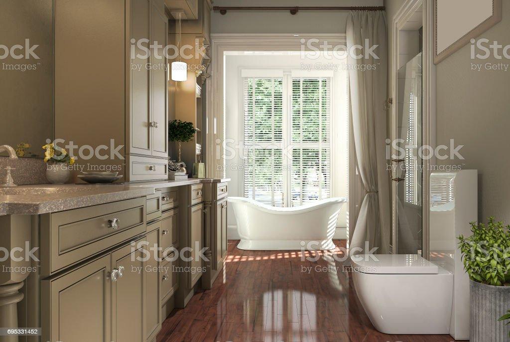 3d Rendering Klassische Badezimmer Mit Holzboden Und Blick Auf Den ...
