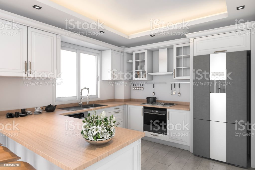 3d rendering classic design white kitchen and dining room stock photo