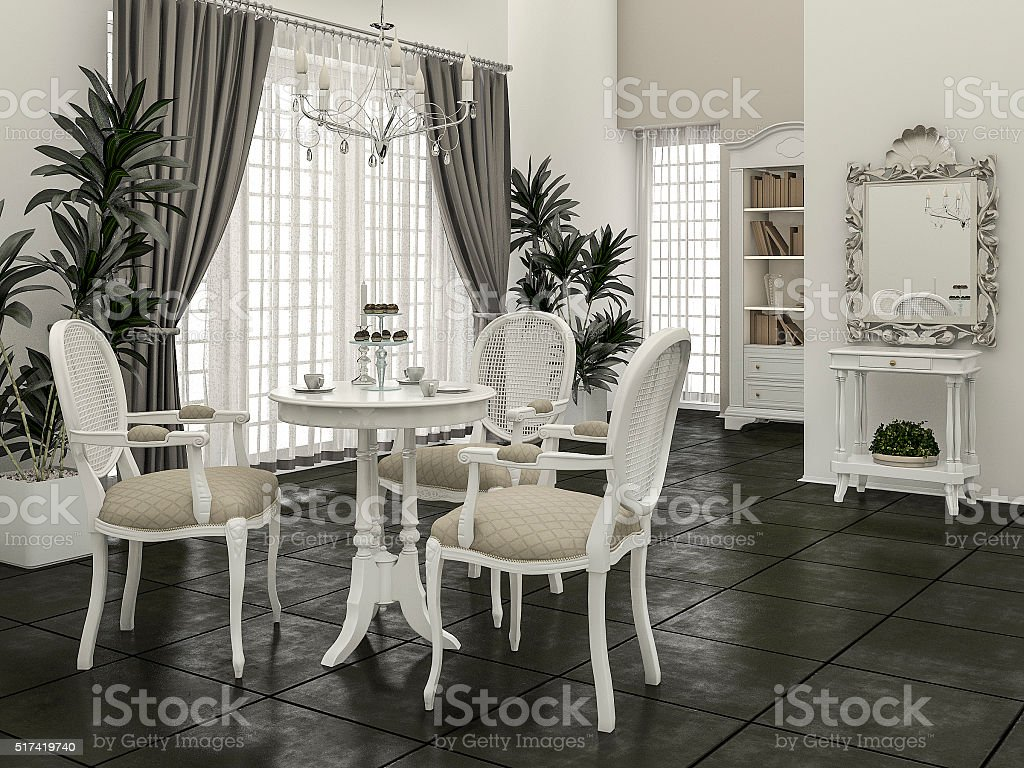 Astounding 3D Rendering Classic Dining Chair With Bright Scene Stock Creativecarmelina Interior Chair Design Creativecarmelinacom