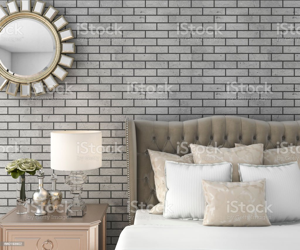 3d rendering classic luxury bedroom with pouf and mirror and brick wall stock photo