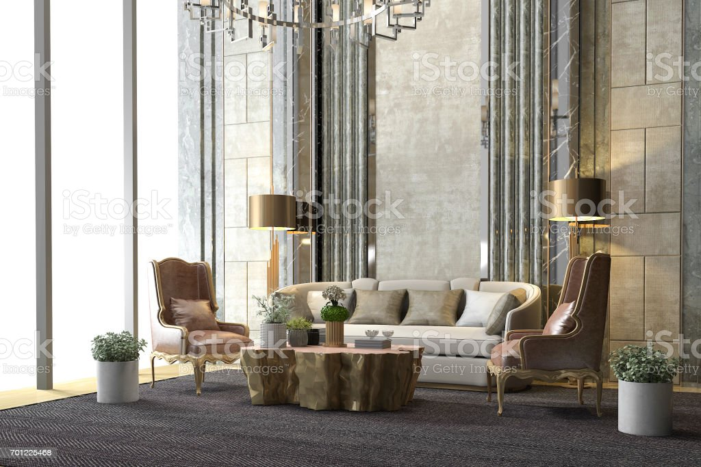 3d rendering classic luxury living room with chandelier and decor stock photo