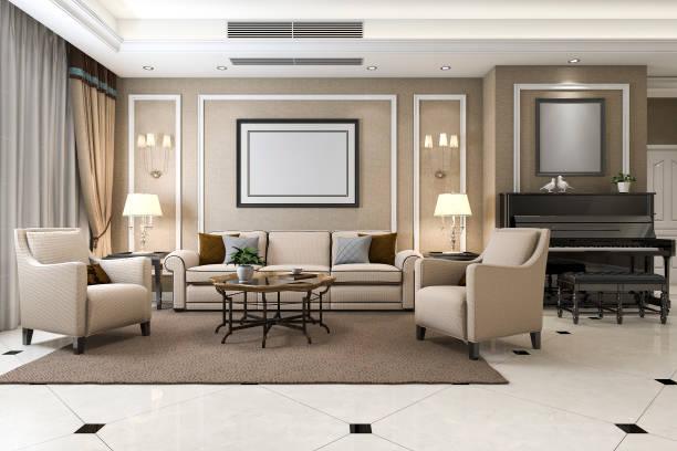 3D Rendering klassische warme Wohnzimmer mit Klavier und Sessel – Foto