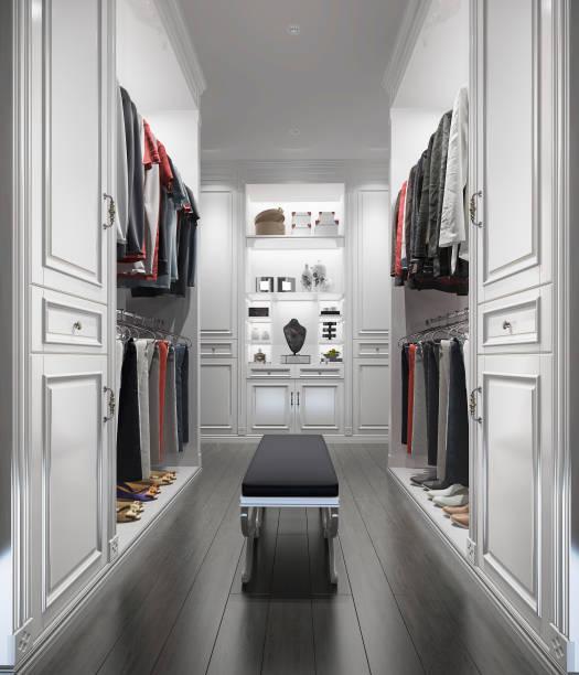 3d rendering klassisch weißem holz gehen in schrank mit garderobe - garderobe mit schuhschrank stock-fotos und bilder