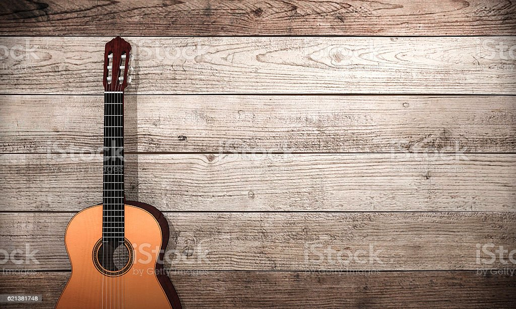 3d rendering classical guitar near wooden wall stock photo