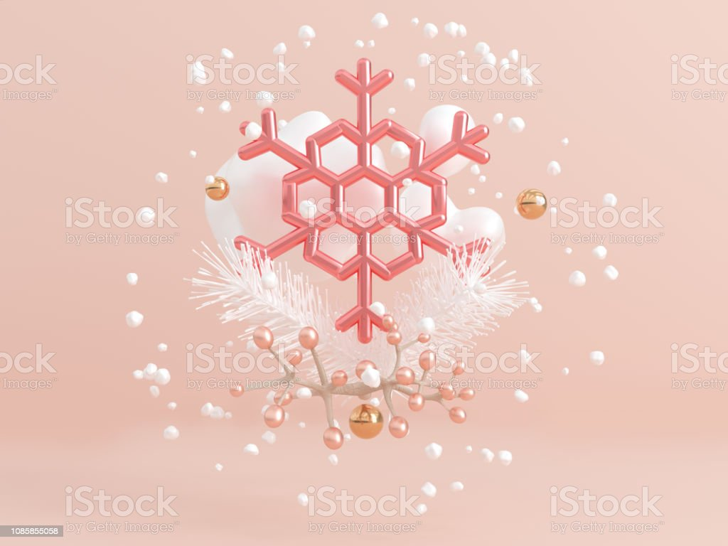 3d rendering clear pink metallic snowflake levitation abstract winter...