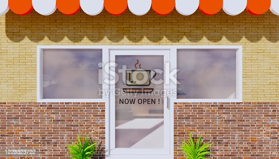 1213432934 istock photo 3d rendering coffee shop and now open sign, coronavirus end. 1223323722