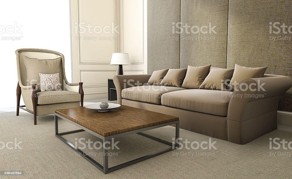 Representación en 3D cómodo sillón y un sofá en la sala de estar - foto de stock