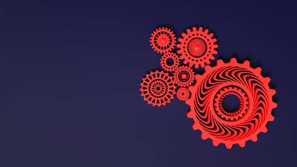 3d rendering. Composition of red gears symbolizing cooperation and teamwork. Cogwheels for websites or business design banners. Place for text. Red gears on dark blue background stock photo