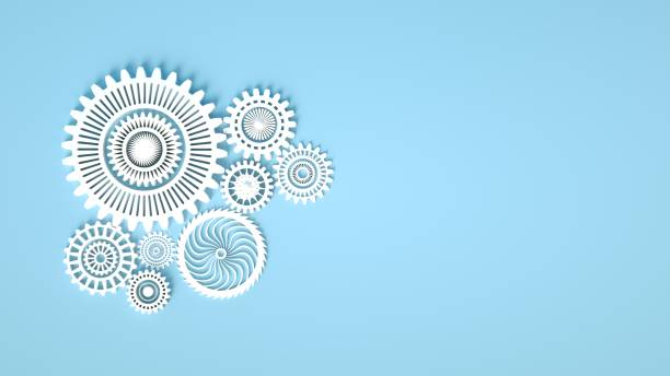 3d rendering. Composition of white gears symbolizing cooperation and teamwork. Cogwheels for websites or business design banners. Place for text. White gears on blue background. stock photo