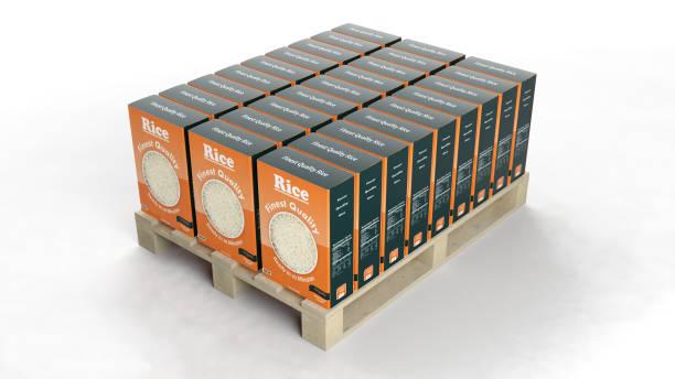 concepto de representación 3d - arroz comida básica fotografías e imágenes de stock