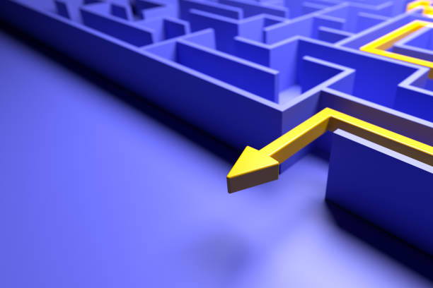 3d rendering: Concept - solving a complex problem. Blue maze and floor with yellow solution path with arrow. stock photo
