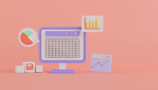 3d rendering concept spreadsheet software.