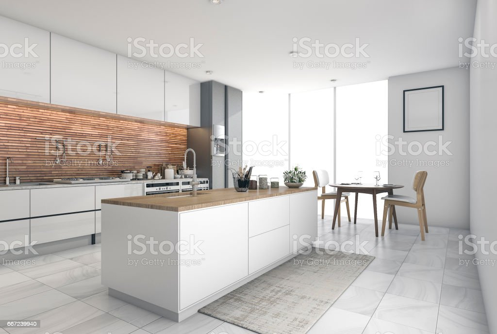 3d Rendering Contemporary Kitchen Bar In Dining Room Royalty Free Stock Photo