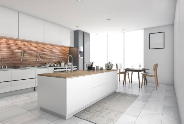 3d rendering-moderne küche-bar im speisesaal - kuechen stock-fotos und bilder