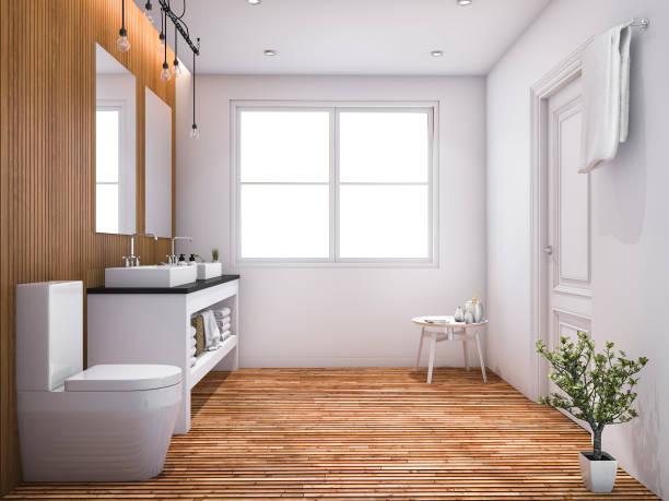 3d rendering contemporary wood toilet with light from window - badezimmer rustikal stock-fotos und bilder