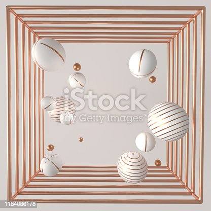 istock 3d rendering copper frame with flying holographic geometric shapes Trendy background for product text presentation or social media banners and promotion 1184086178