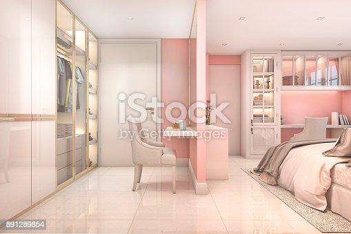 3d Rendering Cozy Pink Pastel Scandinavian Child Bedroom With ...