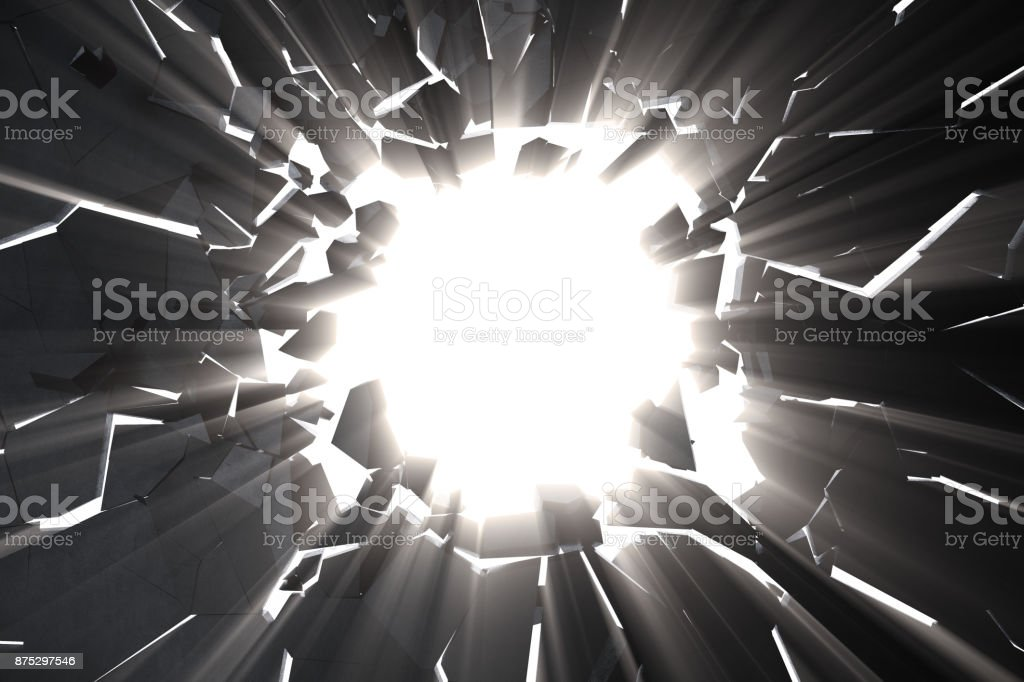 3d rendering cracked earth abstract background with volume light rays. Cracked concrete earth abstract background. stock photo