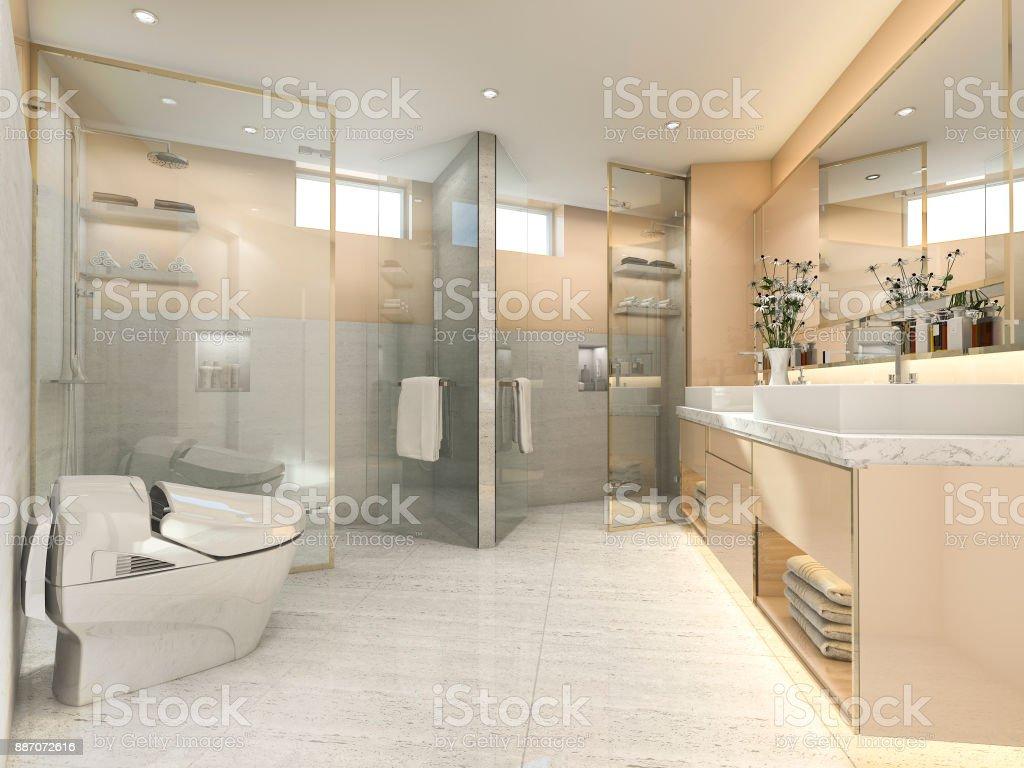 3d Render Crema Vintage Cuarto De Baño Moderno Con Una Decoración De ...