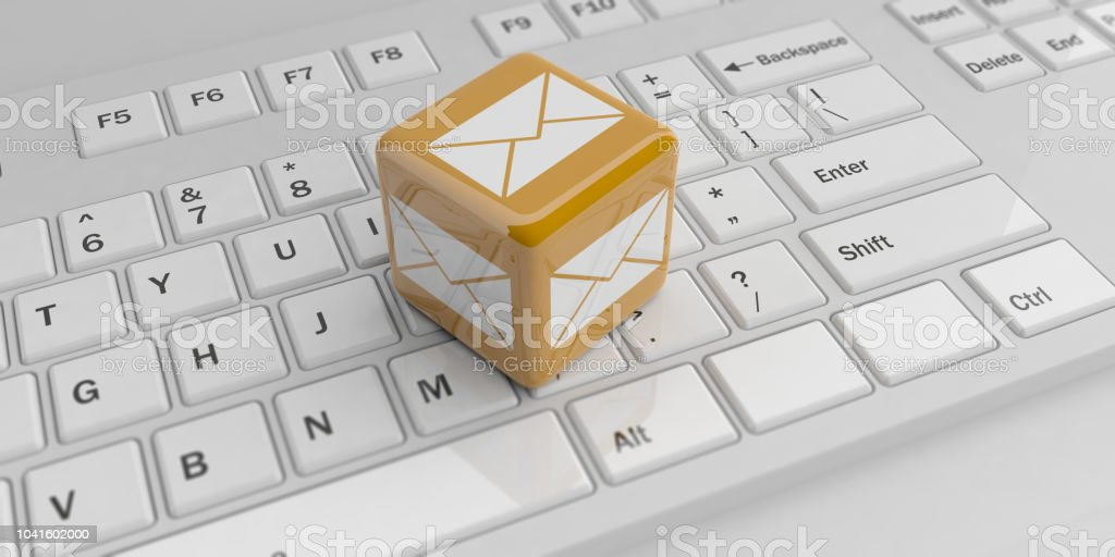 3d Rendering Cube With Mail Symbol On A Keyboard Stock Photo More