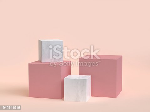 istock 3d rendering cube-box marble minimal cream background 942141916