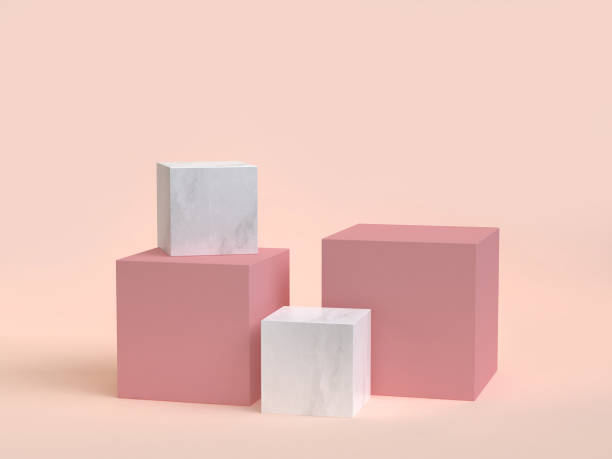 3d rendering cube-box marble minimal cream background - cube shape stock pictures, royalty-free photos & images