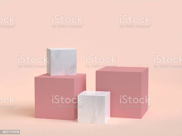 3d Rendering Cubebox Marble Minimal Cream Background - Fotografie stock e altre immagini di Astratto