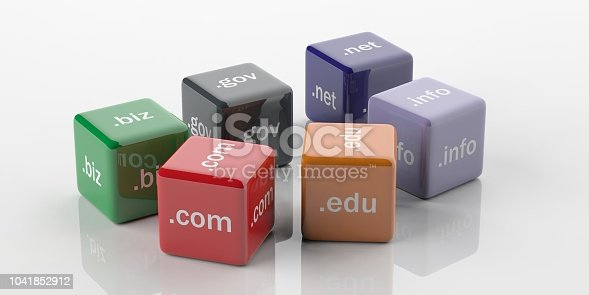 3d rendering cubes with domain names on a white background