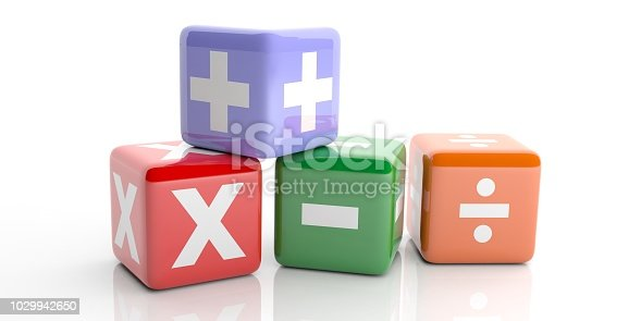 3d rendering colored cubes with math symbols