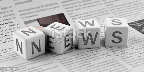 3d rendering cubes word news on a newspaper