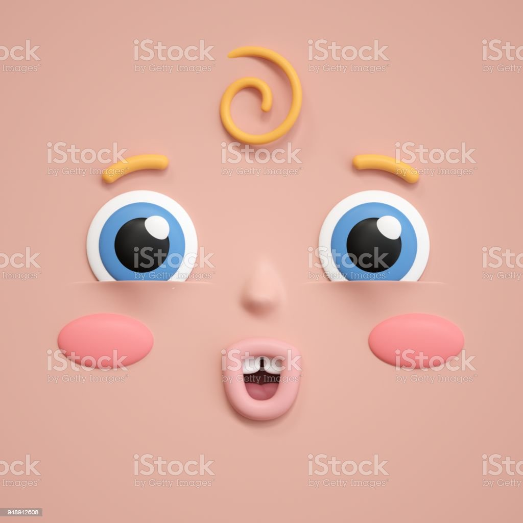 3d rendering, cute baby face icon, emotional facial expression,...
