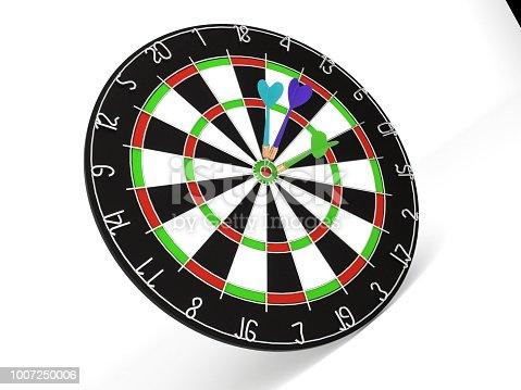 istock 3d rendering Dart in dartboard bullseye 1007250006