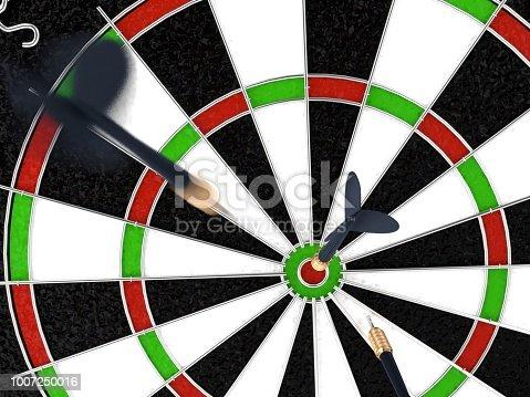 istock 3d rendering Dart in dartboard bullseye 1007250016