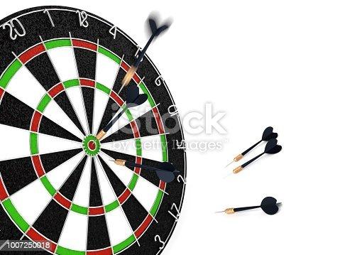 826378430istockphoto 3d rendering Dart in dartboard bullseye 1007250018