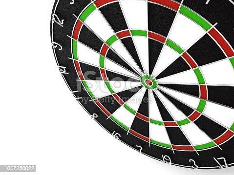 istock 3d rendering Dart in dartboard bullseye 1007250022