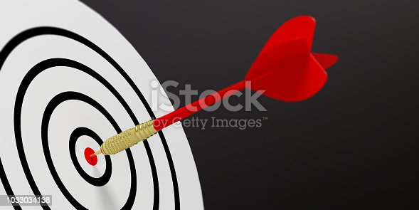 3d rendering red dart on target on black background