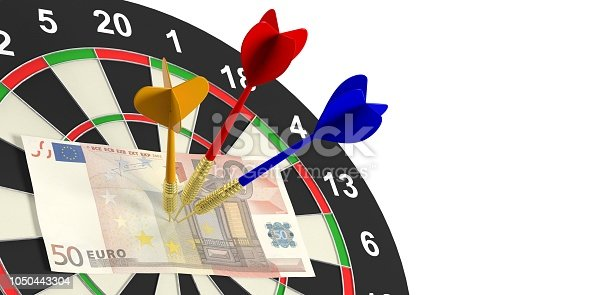 istock 3d rendering darts and euros on target on white background 1050443304