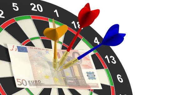 3d rendering darts and euros on target on white background stock photo