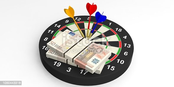 istock 3d rendering darts and euros on target on white background 1050443318