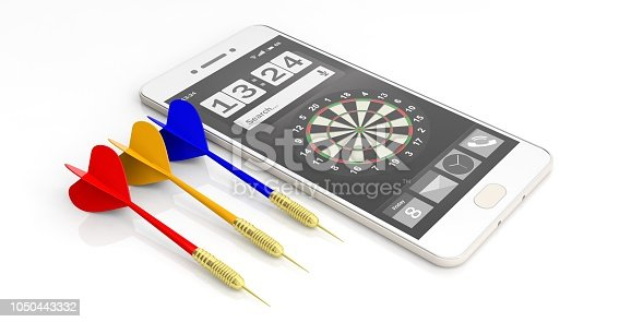 istock 3d rendering darts and smartphone on white background 1050443332