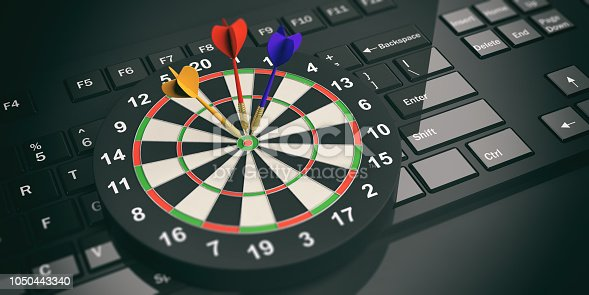 istock 3d rendering darts board on black keyboard 1050443340