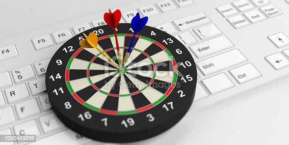 istock 3d rendering darts board on white keyboard 1050443338