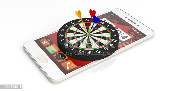 istock 3d rendering darts on target on a smartphone 1050443316