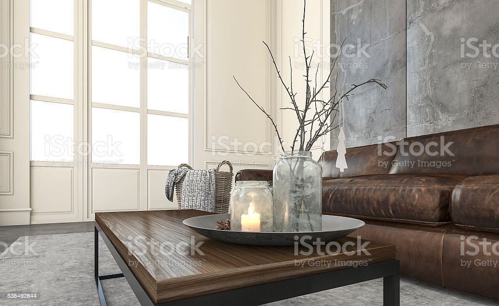 3d rendering daylight in living room with nice decoration stock photo