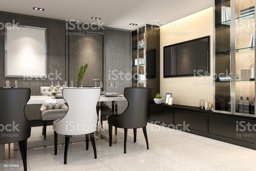3d Rendering Dining Room With Tv Console Set Decor Stock ...