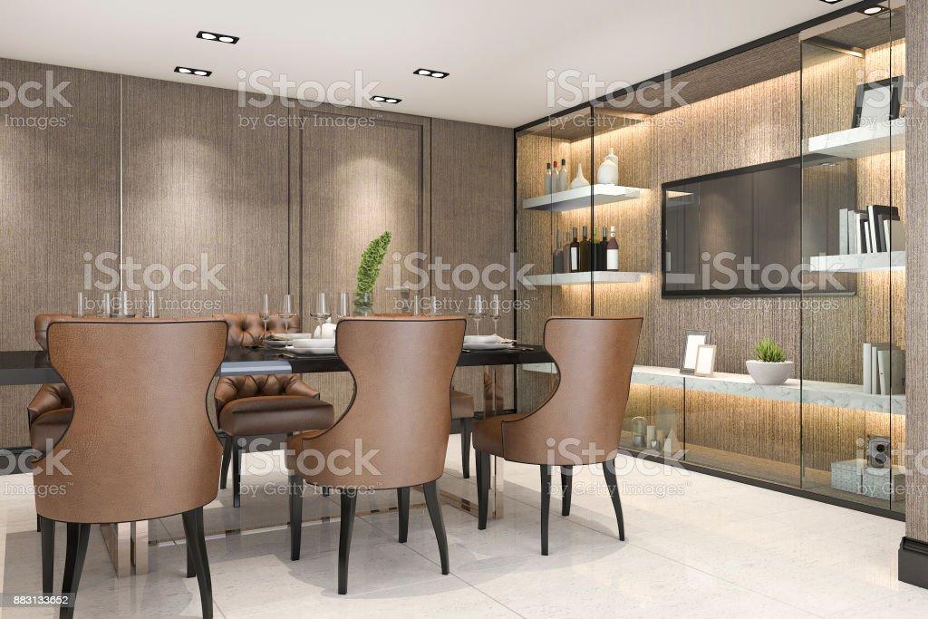 3d Rendering Essen Inmitten Eines Modernen Luxus Braun Esszimmer
