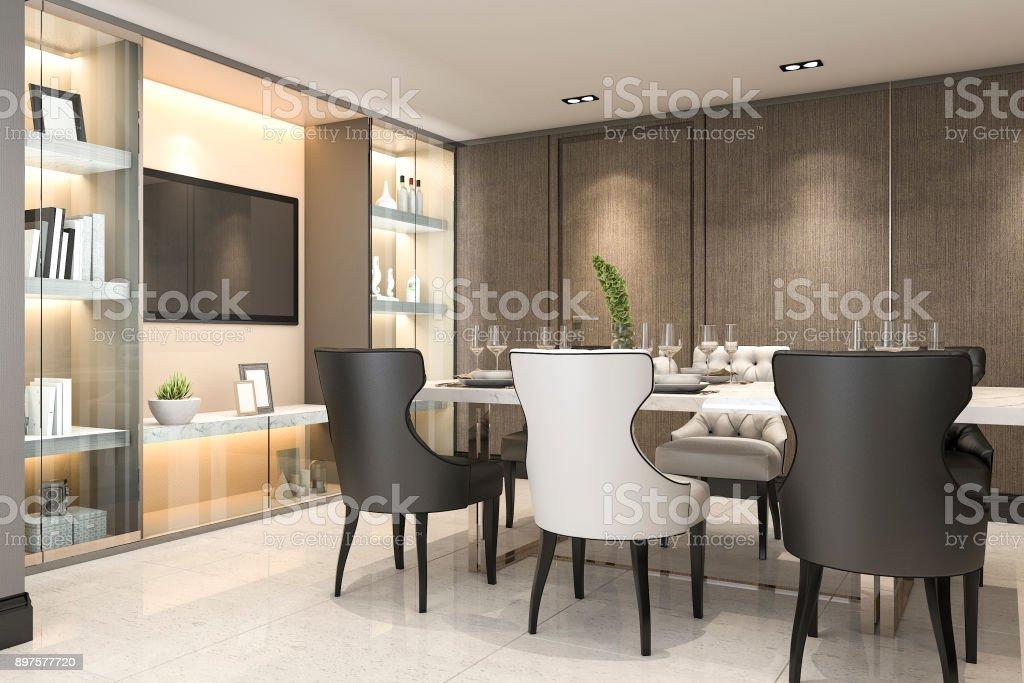 Moderne Eetkamer Set.3d Rendering Dineren Instellen In Moderne Luxe Bruin Eetkamer