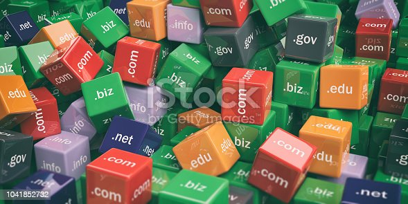 3d rendering colorful domain names cubes background