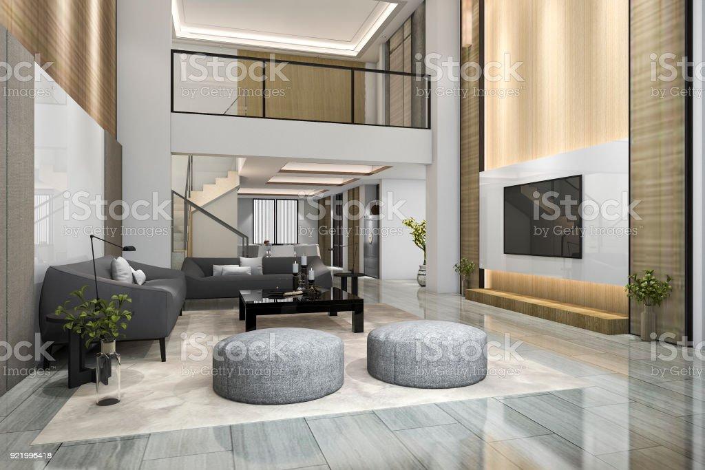D rendering dubbele vloer hout moderne woonkamer en eetkamer