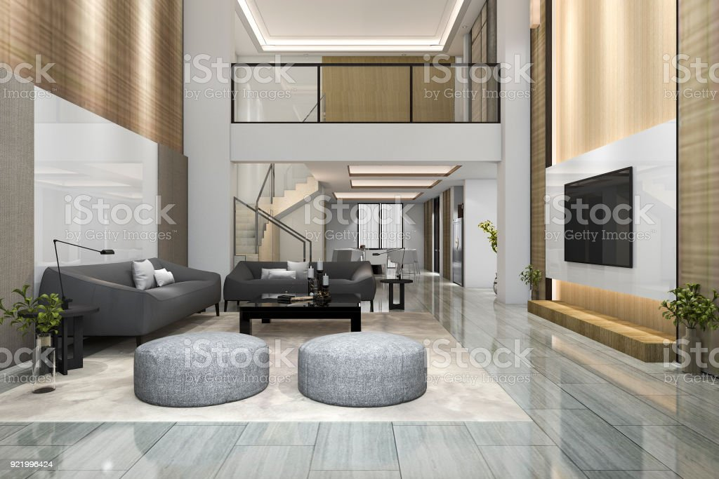3d Rendering Doppelboden Holz Moderne Wohnzimmer Und ...